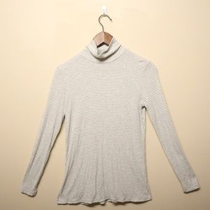 White and Gray Striped Turtleneck Tee
